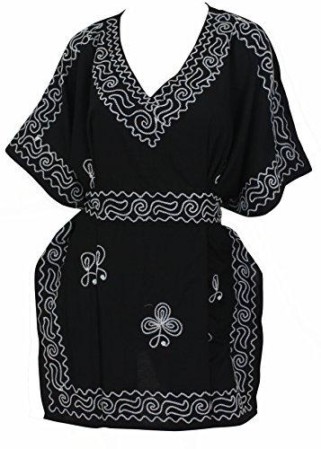 La Leela vestido de noche más corta del tamaño caftán rayón viscosa bordado cubren hasta primeras mujeres túnica negro