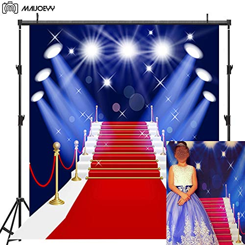 Maijoeyy 5x7ft Red Carpet Photography Backdrop for Pictures Stage Children Photo Backdrop Photography Props Costumes Party Backgrounds for Photos Studio Props ()