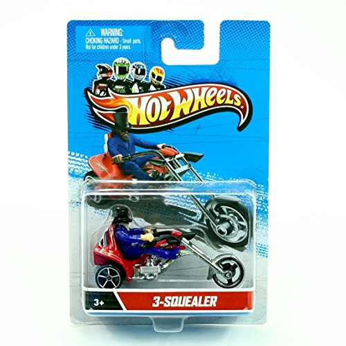(Hot Wheels X2088 3-Squealer 1:64 Scale 2012 Die-Cast Motorcycle Rider Vehicle, Red & Blue)