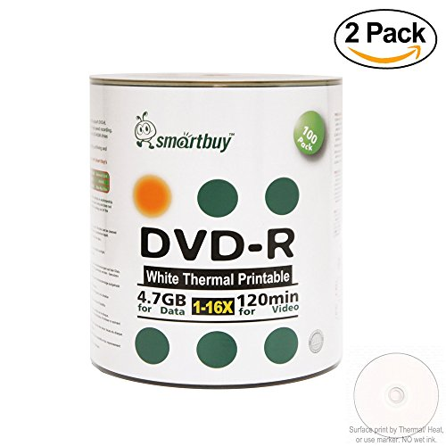 Smart Buy 200 Pack DVD-R 4.7gb 16x Thermal Printable White Blank Data Video Record Disc, 200 Disc 200pk by Smart Buy