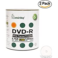 Smart Buy 200 Pack DVD-R 4.7gb 16x Thermal Printable White Blank Data Video Record Disc, 200 Disc 200pk