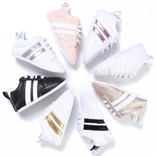 nicholco recién nacido bebé Niños Niñas Suave único bebé prewalker infantil Zapatillas zapatos White + Silver Edge Talla:6-12M blanco