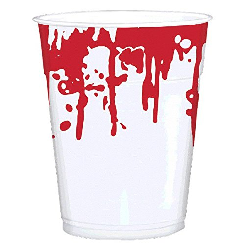 Amscan | Party Tablewares |  Blood Splatter Printed Cups  | 25 in a pack |  16 oz  |  White w/ print of dripping blood ()