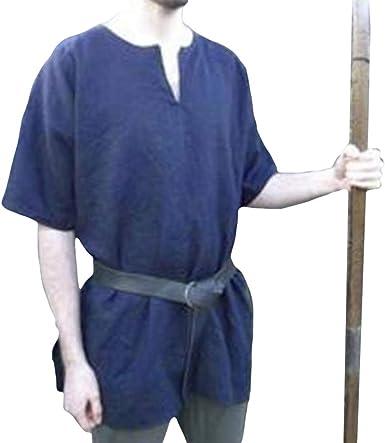 Camisa Medieval para Hombre, Vintage Manga Corta Camisetas con Cuello en V Renacimiento Victoria Estilo Túnica para Halloween Cosplay Tamaño S-4XL: Amazon.es: Ropa y accesorios