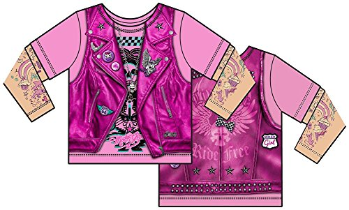 [Toddler: Pink Biker Costume Tee Baby T-Shirt Size 3T] (Biker Kid Costume)