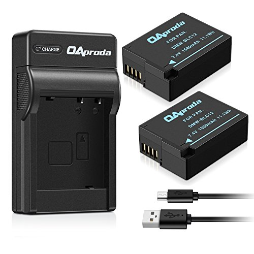 OAproda 2 Pack DMW-BLC12 Fully Decoded Battery and Micro USB Charger for Panasonic DMW-BLC12E, DMW-BLC12PP, Lumix DMC-FZ200, DMC-FZ1000, DMC-G5, DMC-G6, DMC-G7, DMC-GX8, DMC-G85, DMC-GH2, DMC-FZ300K
