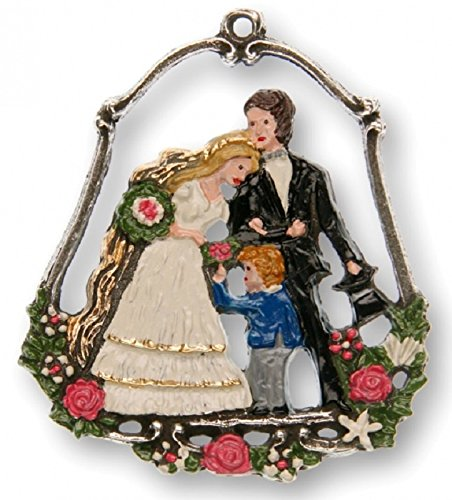Wedding Couple with Flower Child German Pewter Christmas Ornament Made Germany