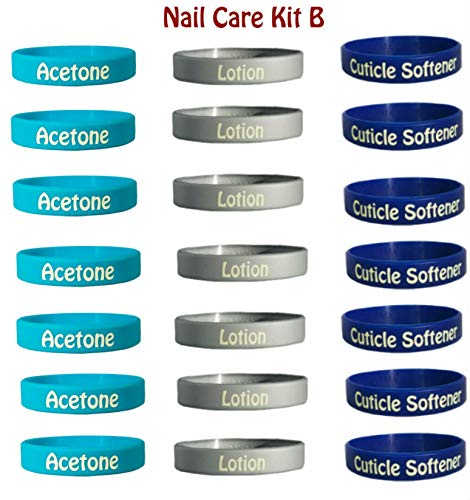 (Nail Care Kit B: 21 Pack Squeeze Bottle Labels: 7 Acetone, 7 Cuticle Softener, 7 Lotion: Perfect Addition for Nail Care Professions Providing Manicures on Acrylic and Gel)