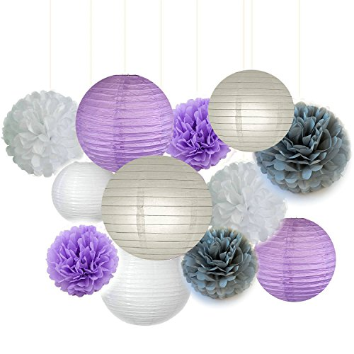 Fascola 12 pcs White Lavender Grey Purple 10inch 8inch Tissue Paper Pom Pom Paper Lanterns Mixed Package for Lavender Themed Party Bridal Shower Decor Baby Shower (Purple And Grey Wedding)