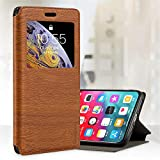Oppo Reno 4 Case, Wood Grain Leather Case with Card