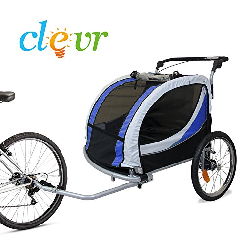 Find a Clevr 2 Deluxe Child Bicycle Trailer Baby Bike Kid Jogger Blue Running Carrier