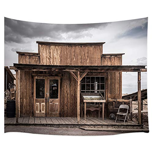 (Rustic Town Tapestry Farmhouse, Old Building Village Wooden Town House in Wild Western USA Town Tapestry Wall Hanging, Cowboy Tapestry Blanket Wall Decor for Bedroom Living Room Dorm, 60X40 in)