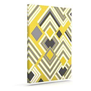 """Kess InHouse Jacqueline Milton """"Luca-Gold"""" Yellow Gray Outdoor Canvas Wall Art, 20 by 24-Inch"""