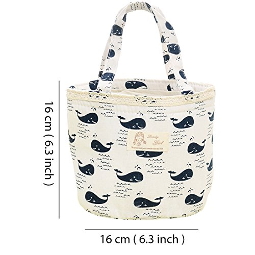 Oyachic Thermal Lunch Bag Insulated Tote Leakproof Drawstring Bag with Foil Liner for Office, School and Picnic (Whale white) by Oyachic (Image #2)