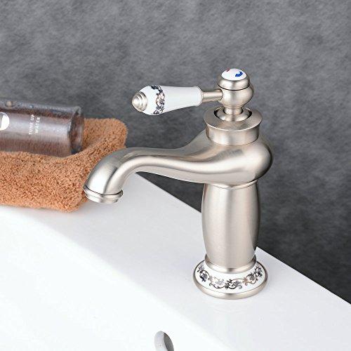 Beelee BL6045NT Soild Brass Single Handle Vanity Sink Faucet Bathroom Faucet Ceramic handle, Nickel Brushed (Ceramic Single Handle)