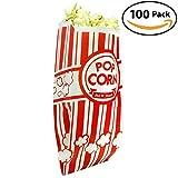 popcorn bag holder - Popcorn Bags - Single Serving 1oz Paper Sleeves in Nostalgic Red/White Design (100)