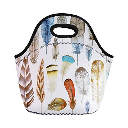 Vintage Bird Clipart - Semtomn Lunch Tote Bag Colorful Bird Watercolor Feathers Ethnic Clipart Chicken Pen Vintage Reusable Neoprene Insulated Thermal Outdoor Picnic Lunchbox for Men Women