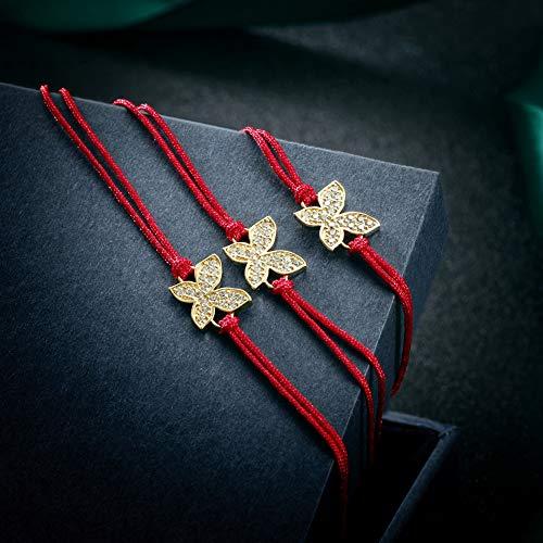 JINBAOYING Hamsa Evil Eye Bracelet with Cubic Zirconia String Kabbalah Adjustable Bracelet Handmade Charm Bracelets for Women Men Girls Boys (Butterfly Bracelet (Set of 3)) by JINBAOYING (Image #4)