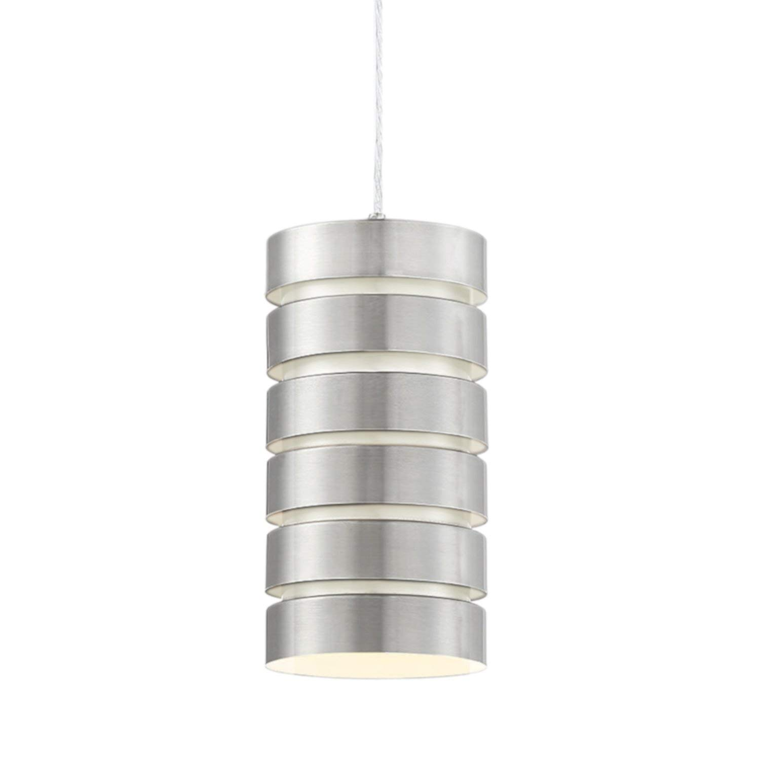 "Kira Home Aura 9.5"" Modern Industrial Pendant Light, Adjustable Wire Hanging Lamp, Brushed Nickel Steel"