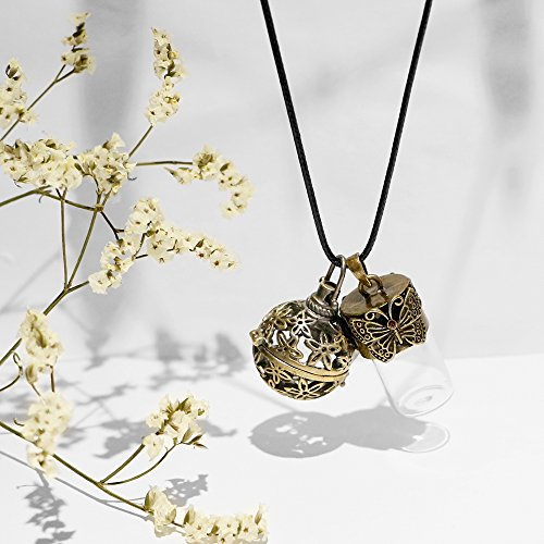 Lava Rock Aromatherapy Essential Oil Diffuser Necklace Flower Locket-style Pendant with Butterfly Vial, 1 Dropper, 24