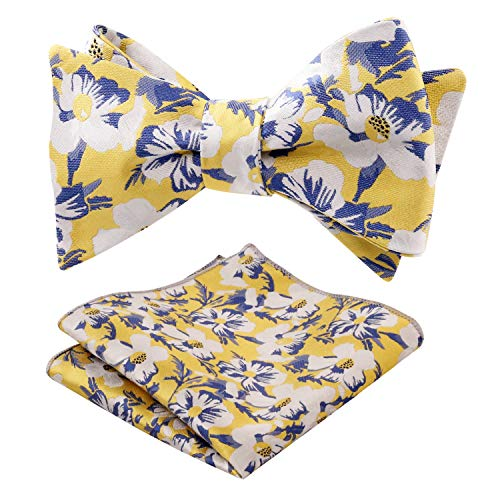 d5c8b302d1ed Alizeal Mens Wedding Party Floral Pattern Self-tied Bow Tie and Pocket  Square Set,
