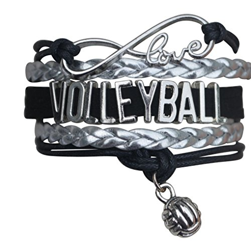 Volleyball Charm Bracelet - Infinity Love Adjustable Charm Bracelet with Volleyball Charm for Women and Girls