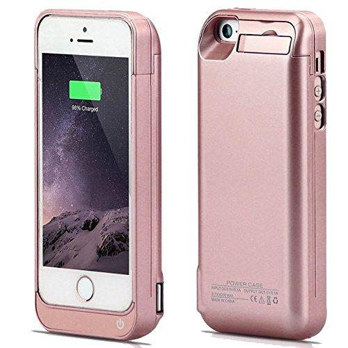 iPhone 5 Battery Case, SQDeal compact 4200mah External Battery Charger claim Protective Cover veggie juice ability Bank for iPhone 5/5S/5C SE (Rose Gold)