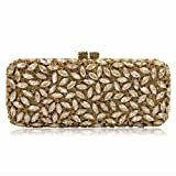 Milisente Women Evening Bag Gillter Diamond Crystal Evening Clutches Bag (Deep Gold)