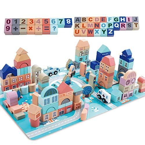 Mochoog Wooden Building Blocks Set, 133 Pieces Educational Construction ABC/123 Blocks for Kids, City Building Blocks Stacking Preschool Toys with Play Mat Puzzle for Birthday Gift