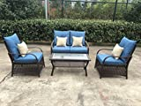 Cheap Sol Siesta Clubhouse Collection 4 Piece Conversation Set of Resin Wicker Patio Furniture, Blue Cushions w/Beige Pillows