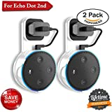 Echo Dot Wall Mount Amazon Echo Wall Mount Dot Holder Alexa Dot Plug Mount A Space-Saving Wall Mount Echo Dot for Smart Home Speaker Without Messy Wires or Screws (Pack 2, White White)