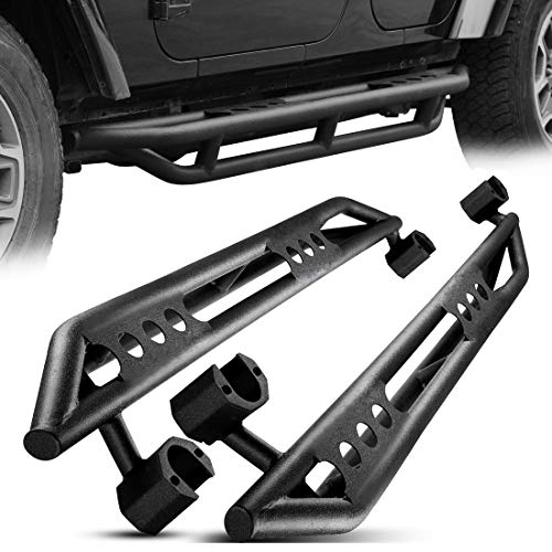 AUTOSAVER88 Running Boards,Nerf Bars,Side Steps Compatible for 2007-2018 Jeep Wrangler JK 4 Door 2″ Black Textured Tubing Guard Rock Rails Kit, Powder Coating Finishing (Excl 2018 JL Models)