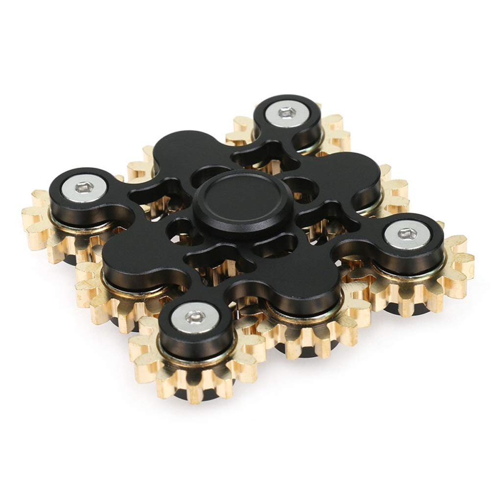 FREELOVE 9 Series Gear Design Pure Copper Brass Fidget Spinner Toy Stress Reducer Premium EDC Industrial Mechinery Disassemble R188 Silent Stainless Steel Bearing Helps Focus (Black, 9 Series Gear)
