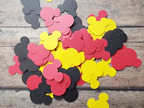 Yellow, Red, and Black Mickey Minnie Mouse Paper Confetti-350 Pieces -