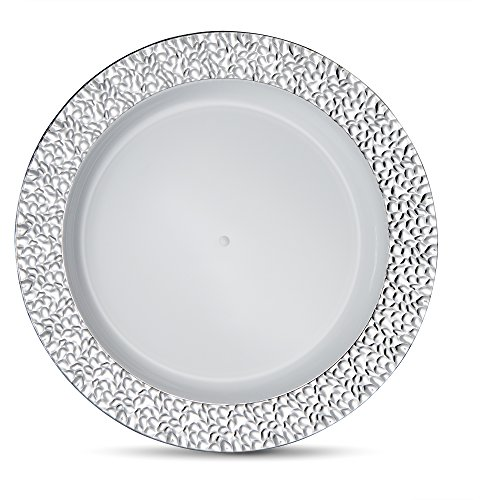 Laura Stein Designer Tableware Premium Heavyweight 10'' Inch White Plate And Hammered Silver Border Plastic Party & Wedding Dinner Plates Glitz Series Disposable Dishes Pack of 40 Plates