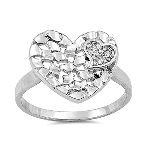 [Clear CZ Hammered Mosaic Heart Ring New .925 Sterling Silver Band Size 9 (RNG16212-9)] (Mosaic Heart Ring)