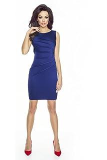 VictoriaV Damen Etuikleid Stretchkleid Cocktailkleid Sommerkleid  Frontdetail Schwarz Blau f36d925663