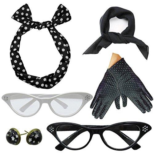 (Women 1950s Accessories Set Headband Scarf Glasses Earrings (Black))