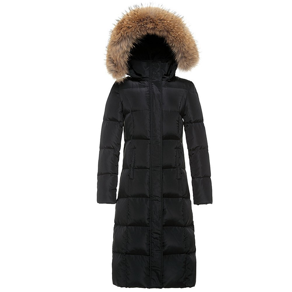 Drasawee Women's Winter Long Down Coat Parka With Fur Hood JQ01308