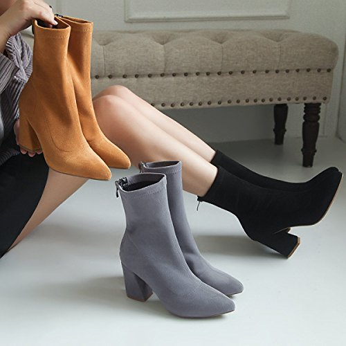 In New Pointed Socks Boots Boots High Boots Boots Rough Boots Tube Female Suede heeled Stovepipe Autumn With The Grey Stretch Winter And zqIwExvn6P