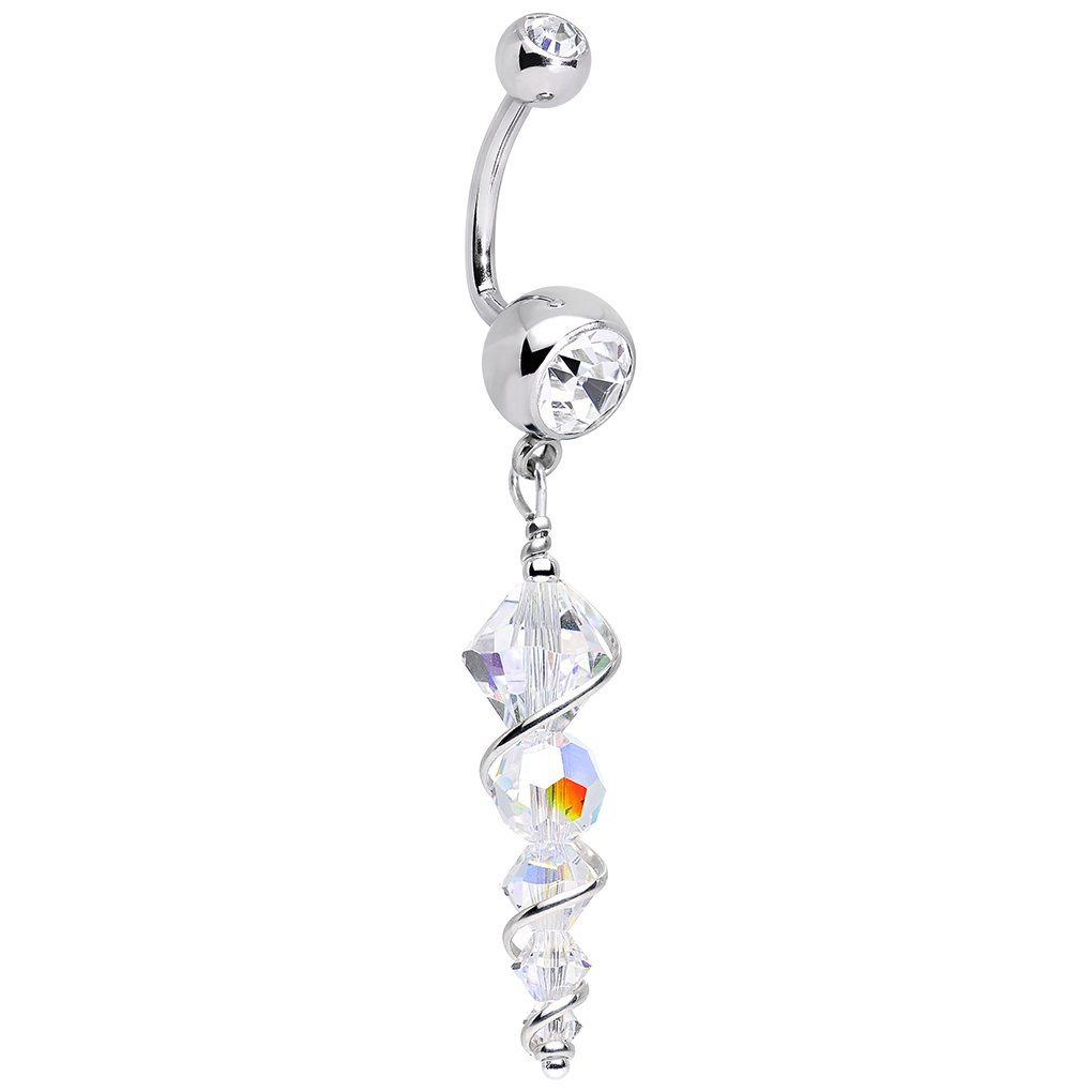 Body Candy Handcrafted Stainless Steel Sparkling Icicle J Bar Dangle Belly Ring