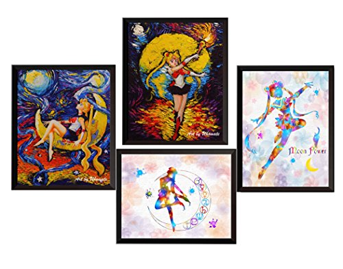 Uhomate 4 pcs Pretty Soldier Sailor Moon Wall Decor Vincent