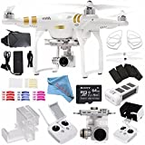DJI Phantom 3 Professional Quadcopter with 4K Camera and 3-Axis Gimbal + Sony 64GB microSDXC + VR VUE: 3D Virtual Reality Viewer + DJI Remote Controller Monitor Hood + Fibercloth Bundle