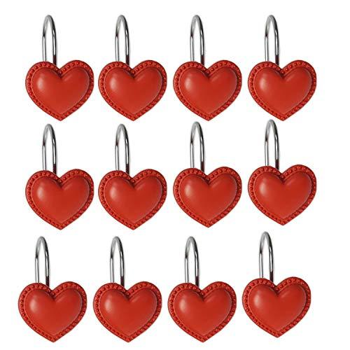 YYC Set of 12 Lovely Heart Shower Curtain Hook Bathroom Curtain Accessory (Red) (Accessories Heart Bathroom)
