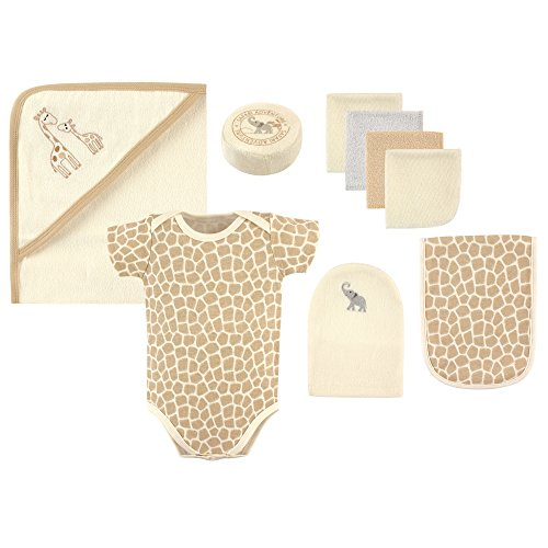 Hudson Baby 9-Piece Bath Time Gift Box Set, Safari