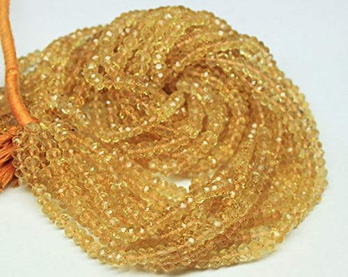 Beads Bazar Natural Beautiful jewellery 3 Strand Gold Yellow Citrine Faceted Rondelle Micro Gemstone Craft Loose Beads 14