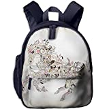 Haixia Kid Boys&Girls Backpacks with Pocket Abstract Home Decor Abstract Floral Horse Flower Leaf Ornamental Paisley Pattern Swirl Artwork