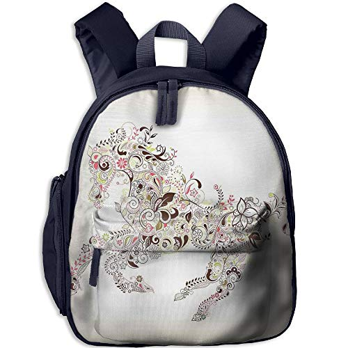 Haixia Kid Boys&Girls Backpacks with Pocket Abstract Home Decor Abstract Floral Horse Flower Leaf Ornamental Paisley Pattern Swirl Artwork by Haixia