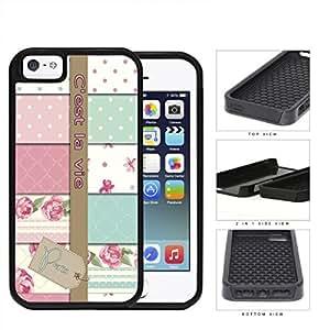 Paris C'est La Vie Variety Wallpaper 2-Piece Dual Layer High Impact Rubber Silicone Cell Phone Case Apple iPhone 5 5s