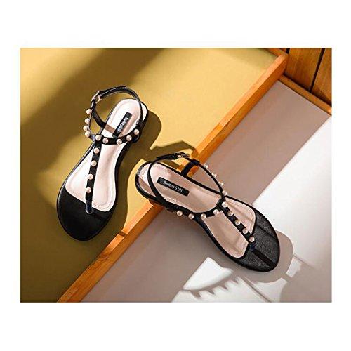 Pattini Di Delle Tallone Donne Caviglia Bassi Sandali Modo Di Della Sandali Vibrazione Piani Di Piattaforma Perle Casuali Di Sandali Nere Infradito Infradito Del xwq0UXA1p